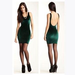 AMERICAN APPAREL Green Velvet Tank Pencil Dress M